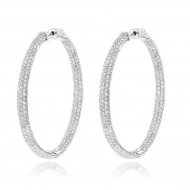 14K Gold Dazzling 2 inch Diamond Hoop Earrings Inside Out 7ct