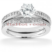 14K Designer Diamond Engagement Ring Set 0.38ct