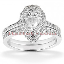 14K Designer Diamond Engagement Ring Set 0.68ct