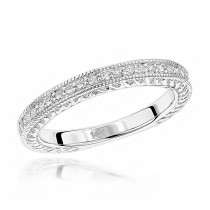 Thin Antique Style 14K Gold Designer Diamond Wedding Band for Women 0.19ct