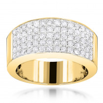 14K Designer Diamond Wedding Band 1.67ct Womens or Mens Pave Diamond Ring