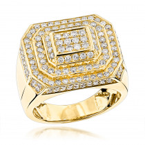 14K Gold Designer Mens Diamond Ring 2.66ct