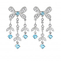 14K Diamond Chandelier Earrings Blue Topaz 0.37ct