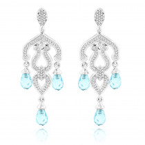 14K Gold Diamond Chandelier Earrings Blue Topaz 0.37ct