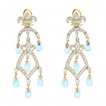 14K Diamond Chandelier Earrings Blue Topaz 0.55ct