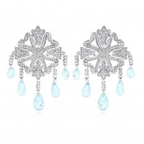 14K Diamond Chandelier Earrings Blue Topaz 0.64ct
