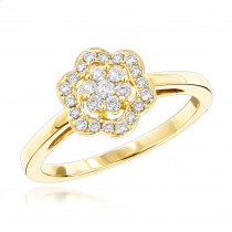 Flower Diamond Rings: 14K Gold Ladies Diamond Cluster Ring 0.4 ct