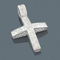 14K Diamond Cross Pendant Princess Cut Invisible 6.55