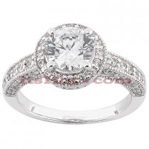 Halo 14K Diamond Engagement Ring Setting 0.43ct