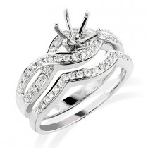 14K Diamond Engagement Ring Setting Set 0.49ct