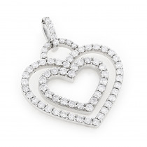 14K Diamond Gold Hearts Diamond Heart Pendant 1.17ct