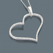 14K Diamond Heart Pendant 0.32ct