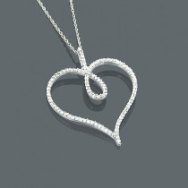 14K Diamond Heart Pendant 0.42ct