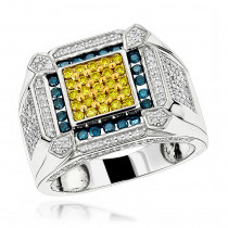 14K Diamond Mens Ring Blue Yellow White 1.5ct