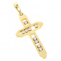 14K Floating Diamond Cross Pendant LUCCELLO Monte Carlo
