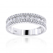 14K Gold 1 carat Round Diamond Wedding Band for Women by Luxurman