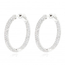 14K Gold 1 3/8 inch Diamond Hoop Earrings Inside Out 4.40ct