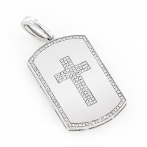 14K Gold 0.35ct White Diamond Cross Dog Tag Pendant