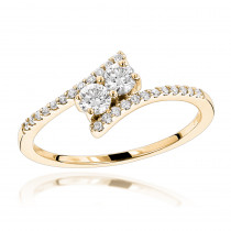14K Gold 2 Stone Diamond Ladies Ring 0.4ct Love and Friendship Design