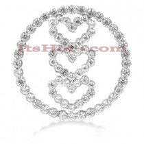 14k Gold 3 Hearts Circle Pendant 1ct