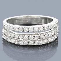 14K Gold 3 Row Diamond Ring 1.20ct