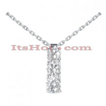 14k Gold 3 Stone Diamond Journey Necklace 0.75ct
