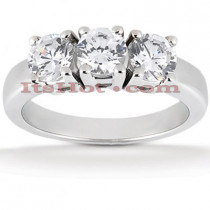Thin 14K Gold 3 Stone Diamond Ring 0.75ct