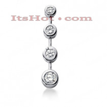 14K Gold 4 Stone Diamond Journey Pendant 0.63ct