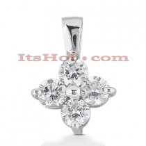 14K Gold 4 Stone Diamond Pendant 1ct