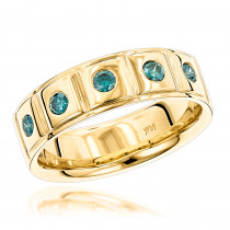 14K Gold 5 Blue Diamond Wedding Band 0.3ct Comfort Fit Five Stone Ring