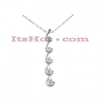 14K Gold 5 Stone Diamond Journey Necklace 0.75ct