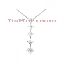 14k Gold 5 Stone Diamond Journey Necklace 0.99ct