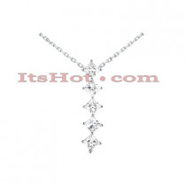 14k Gold 5 Stone Diamond Journey Necklace 1.35ct