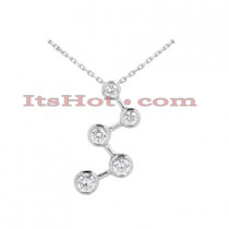 14k Gold 5 Stone Diamond Journey Necklace 1.50ct