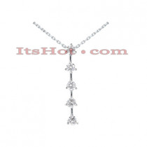 14K Gold 5 Stone Diamond Journey Necklace 1.75ct