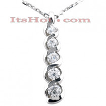 14K Gold 5 Stone Diamond Journey Necklace 1ct