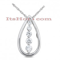 14k Gold 5 Stone Diamond Journey Necklace 2ct