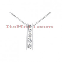 14k Gold 5 Stone Tension Set Diamond Journey Pendant 0.50ct