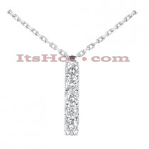 14K Gold 5 Stone Diamond Journey Pendant 0.75ct