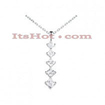 14k Gold 5 Stone Diamond Journey Pendant for Women 1.08ct