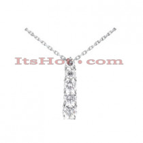 14k Gold 5 Stone Round Diamond Journey Pendant 1ct
