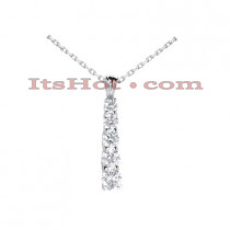 14k Gold 5 Stone Round Cut Diamond Journey Pendant 1ct
