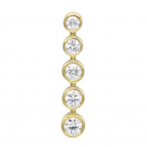 14k Gold 5 Stone Bezel Set Diamond Journey Pendant 2.50ct