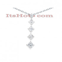 14k Gold 5 Stone Round Diamond Journey Pendant 2ct