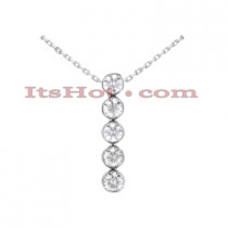 14K Gold Designer 5 Stone Diamond Journey Pendant 3.75ct