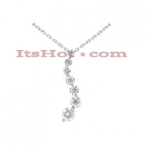 14K Gold 7 Stone Diamond Journey Necklace 1ct