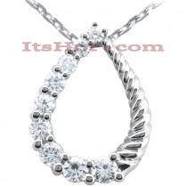 14k Gold 9 Stone Diamond Journey Necklace 0.75ct