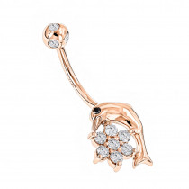 14K Gold and Diamond Body Jewelry 0.42ct Dolphin Belly Button Ring