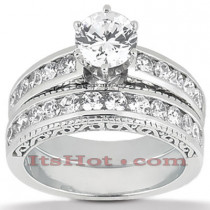 14K Gold Antique Diamond Engagement Ring Set 0.62ct