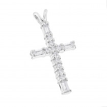 14K Gold Baguette & Round Diamond cross necklace 0.35ct